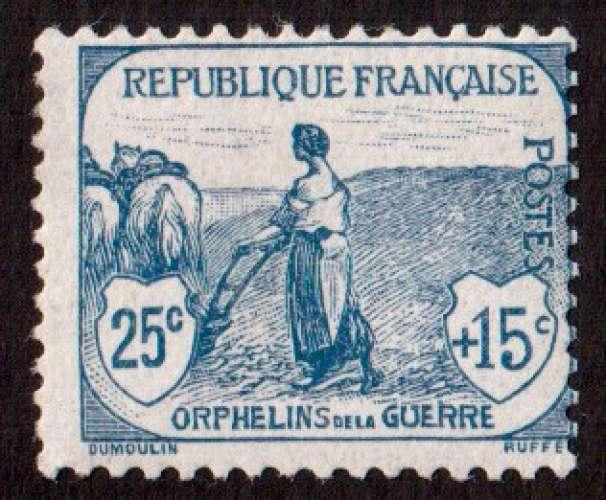 France 1917-18 Y&T 151 ** le travail 25 c + 15 c orphelins de la guerre  cote 225€