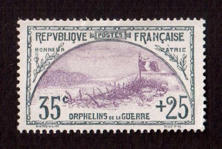 France 1917-18 Y&T 152 NSG le drapeau 35 c + 25 c orphelins de la guerre  cote 160€