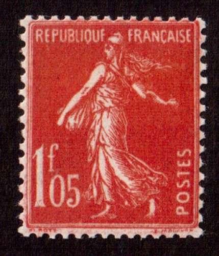 France 1924-26 Y&T 195 * semeuse fond plein 1F05 vermillon  cote 10€