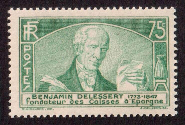 France 1935  Y&T 303 ** Benjamin Delessert 75 c  cote 60€