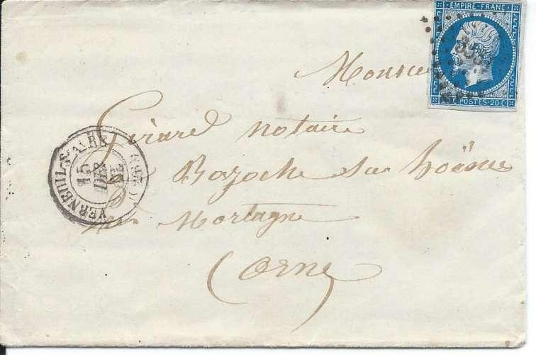 France 1854 Napoléon YT 14A - PC 3531 - Lettre avec correspondance - Verneuil - Bazoches - 1860