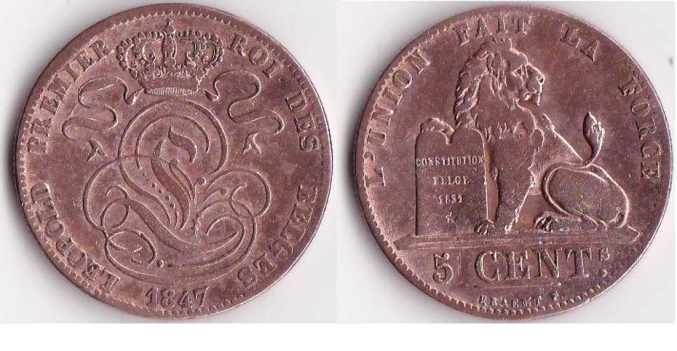 Belgique  LEOPOLD Ier_ 5 CENTIMES CUIVRE GRAND MODULE_ANNEE1847