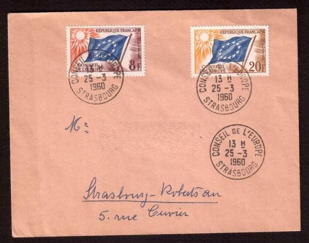 France 1958-59 Service Y&T 17 - 18 (o)  Conseil de l'Europe 8 F et 20 F sur lettre circulé
