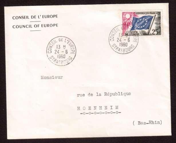 France 1958-59 Service Y&T 19 (o)  Conseil de l'Europe 25 F sur lettre circulé