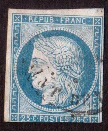 France 1850   Y&T 4 (o) Cérès 25 c bleu non dentelé ND cote 65,00€