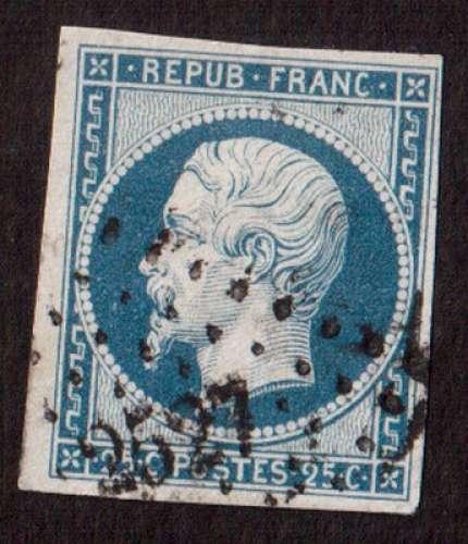 France 1852   Y&T 10 (o) Louis Napoléon 25 c bleu non dentelé ND cote 45,00€  PC 2527 Pontarlier