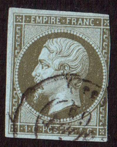 France 1860   Y&T 11 (o)  Napoléon III 1 c olive non dentelé ND cote 90,00€