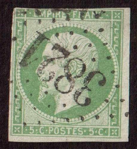 France 1853   Y&T 12 (o) Napoléon III  5 c vert non dentelé ND cote 95,00€  GC 3821