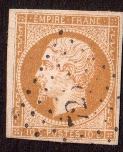 France 1854   Y&T 13A (o) Napoléon III  10 c bistre non dentelé ND cote 20,00€