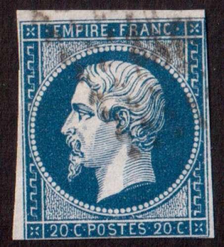 France 1854   Y&T 14A type I (o) Napoléon III  20 c bleu non dentelé ND cote 2,00€