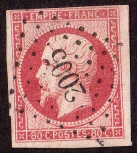 France 1859   Y&T 17B ou 17A (o) Napoléon III  80 c rose ou carmin N D   cote 60,00  ou 70,00€