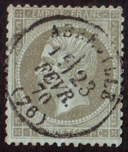 France 1862  Y&T 19 (o) Napoléon III  1 c olive dentelé CAD Abbeville 15/23 fevr 70  cote 50,00€