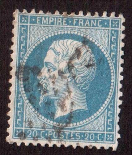 France 1862   Y&T 22 (o) Napoléon III 20 c bleu  cote 2,00€