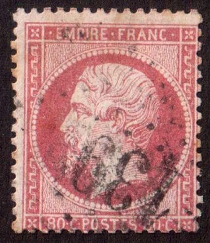 France 1862   Y&T 24 (o) Napoléon Empire Franc 80 c rose oblitération  GC 139..  cote 60,00€