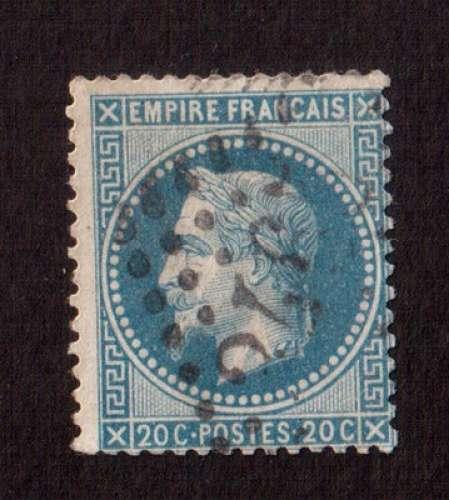 France 1867   Y&T 29B (o) effigie Napoléon laurée Empire Français 20 c bleu..  cote 3,00€