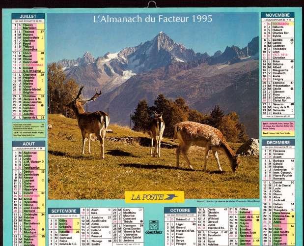 Calendrier Poste.Calendrier 1995 La Poste Almanach Du Facteur Oberthur La