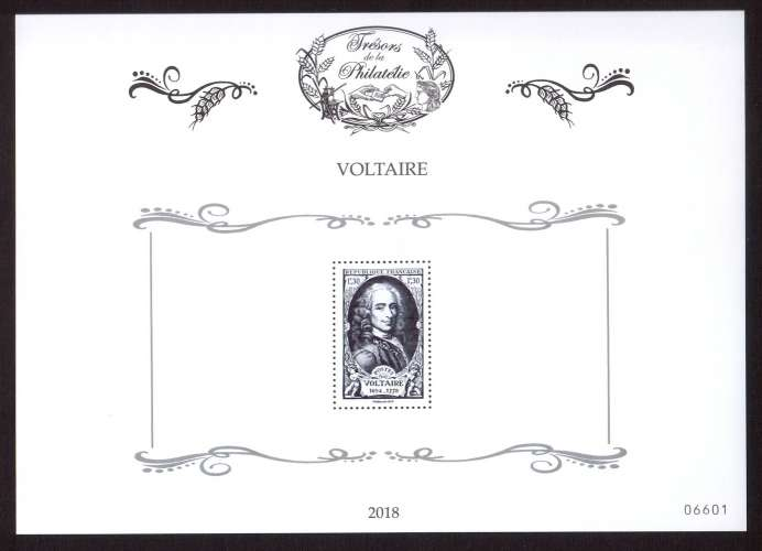 France  2018 bloc feuillet Voltaire numéroté 6601  10 000 exemplaires des Trésors de la philatélie