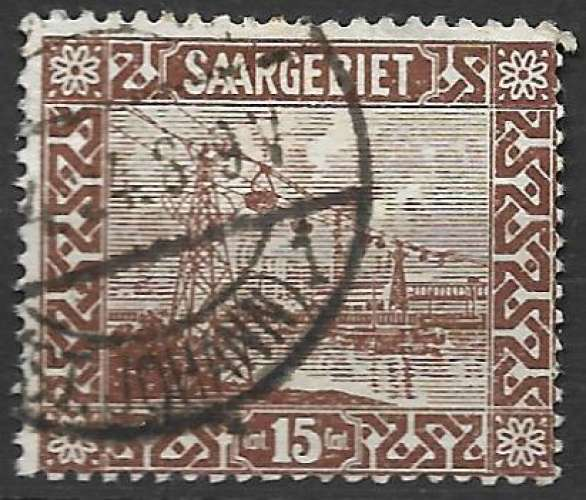 Sarre 1922-23 Y&T 86 oblitéré - Transbordeur sur la Sarre (trace de charnière)