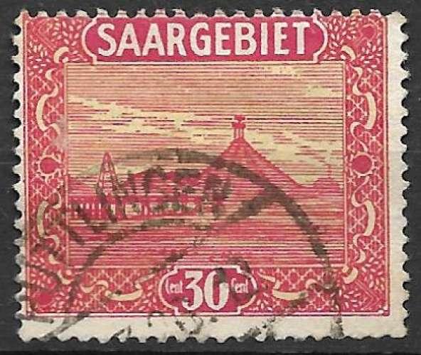 Sarre 1922-23 Y&T 92 oblitéré - Crassier des aciéries de Volklingen (légère trace de charnière)