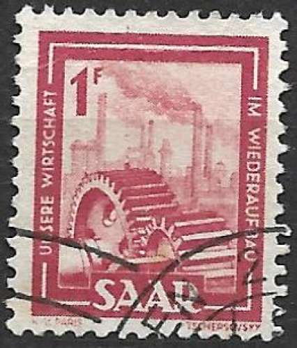 Sarre 1949-50 Y&T 256 oblitéré - Engrenages