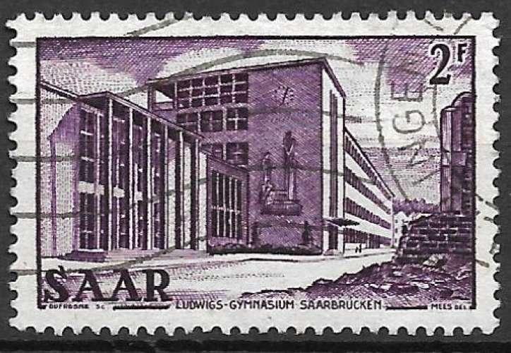 Sarre 1952-53 Y&T 307 oblitéré - Lycée Ludwig à Sarrebruck
