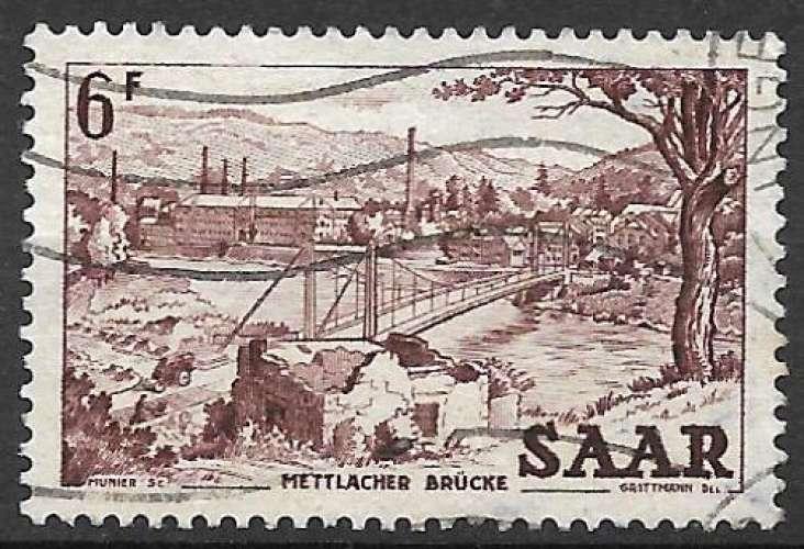Sarre 1952-53 Y&T 310 oblitéré - Pont suspendu de Mettlach