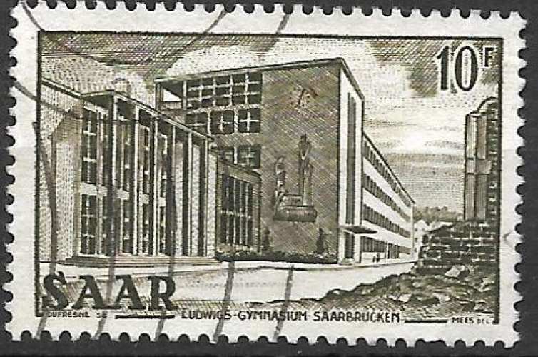 Sarre 1952-53 Y&T 311 oblitéré - Lycée Ludwig à Sarrebruck