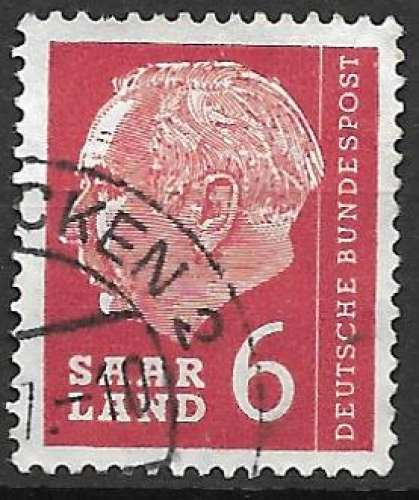 Sarre 1956-57 Y&T 367 oblitéré - Président Heuss