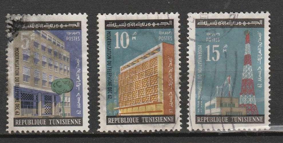 Tunisie 1962 YT 563 564 & 565 de la série amélioration téléphone