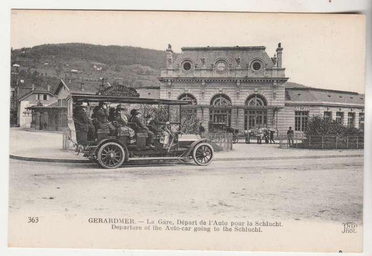 cpa 88 Gérardmer La Gare Départ de l'Auto pour la Schlucht