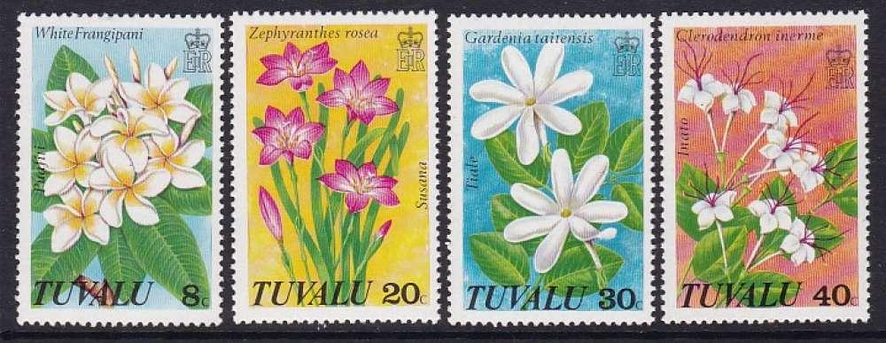 SERIE NEUVE DE TUVALU - FLEURS DE TUVALU N° Y&T 80 A 83