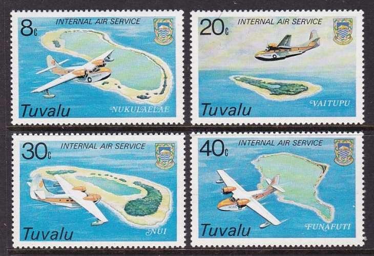 SERIE NEUVE DE TUVALU - INAUGURATION DU SERVICE AERIEN INTER-ILES N° Y&T 115 A 118