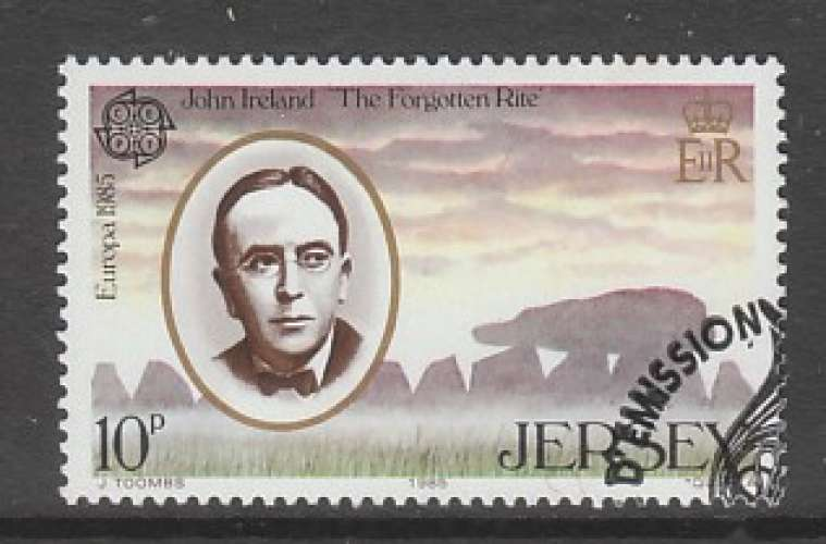 TIMBRE OBLITERE DE JERSEY - EUROPA 1985 : JOHN IRELAND, COMPOSITEUR N° Y&T 341