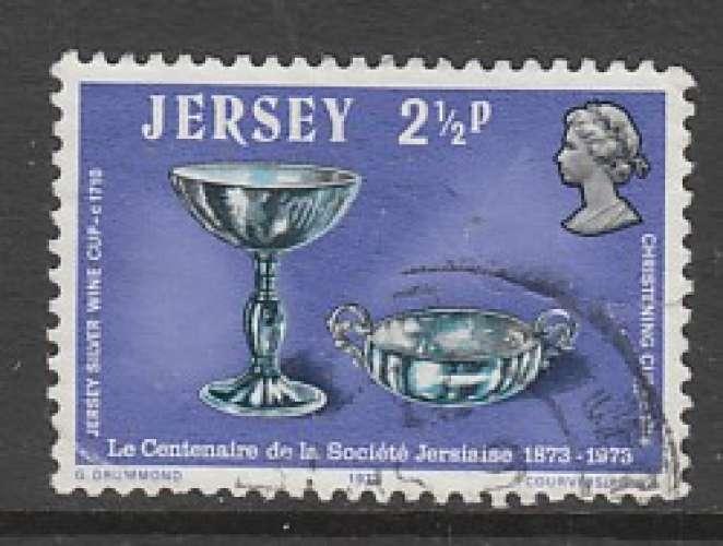 TIMBRE OBLITERE DE JERSEY - COUPE A VIN EN ARGENT, VERS 1710 N° Y&T 71