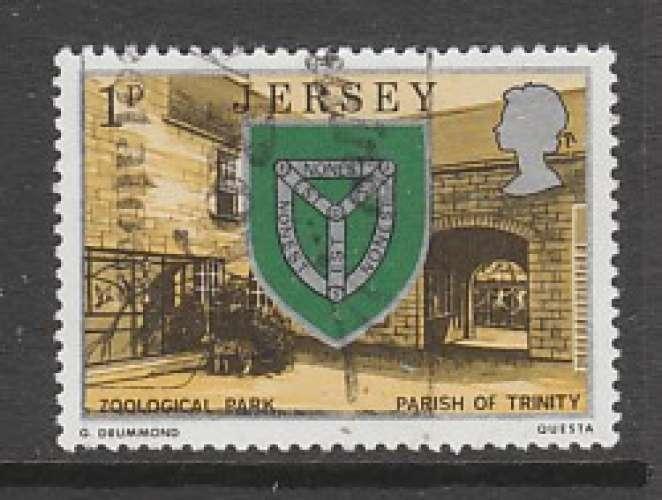 TIMBRE OBLITERE DE JERSEY - ARMOIRIES DE LA PAROISSE DE TRINITY N° Y&T 126