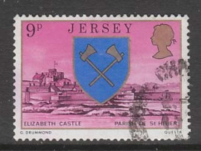 TIMBRE OBLITERE DE JERSEY - ARMOIRIES DE LA PAROISSE DE SAINT-HELIER N° Y&T 131