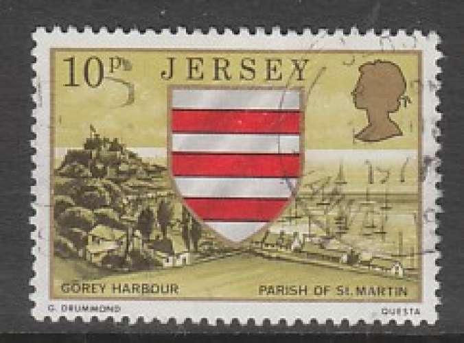TIMBRE OBLITERE DE JERSEY - ARMOIRIES DE LA PAROISSE DE SAINT-MARTIN N° Y&T 132