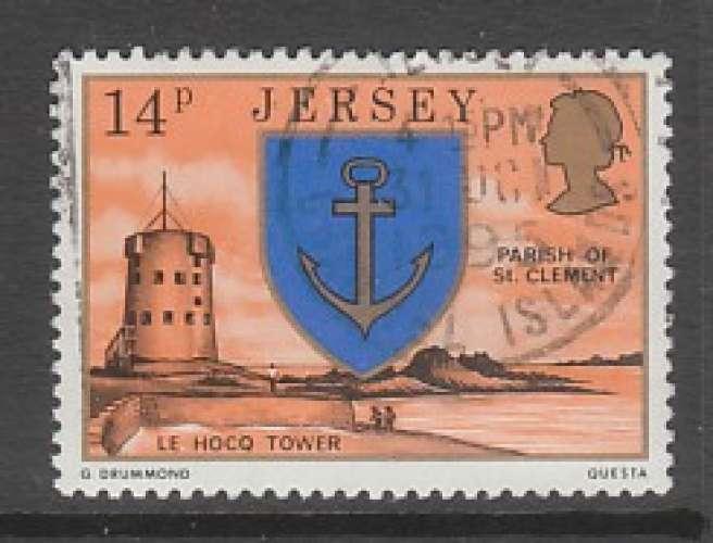 TIMBRE OBLITERE DE JERSEY - ARMOIRIES DE LA PAROISSE DE SAINT-CLEMENT N° Y&T 136