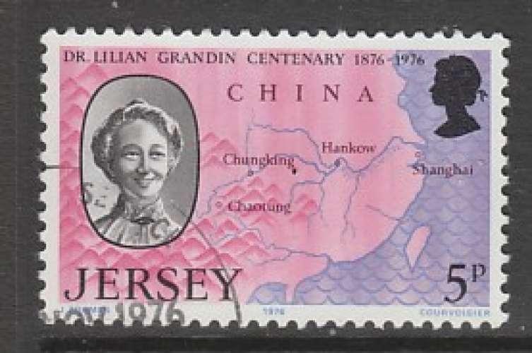 TIMBRE OBLITERE DE JERSEY - DOCTORESSE LILIAN GRANDIN ET CARTE DE LA CHINE N° Y&T 147