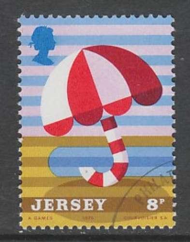 TIMBRE OBLITERE DE JERSEY - TOURISME : PARASSOL N° Y&T 114