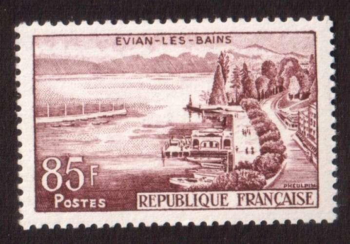 France 1959 Y&T 1193 * série touristique Evian-les-Bains 85 F cote 2,75€