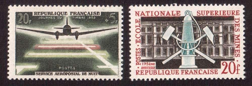 France 1959 Y&T 1196 - 1197 ** série journée du timbre et Ecole des Mines à Paris cote 1,10€