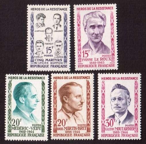 France 1959 Y&T 1198 à 1202 ** héros de la Résistance cote 4,00€