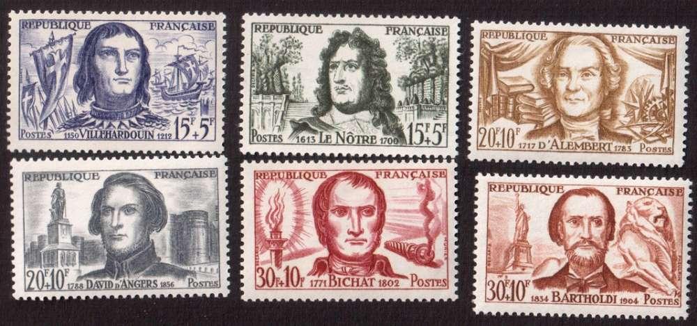 France 1959 Y&T 1207 à 1212 ** célébrités  cote 10,20€