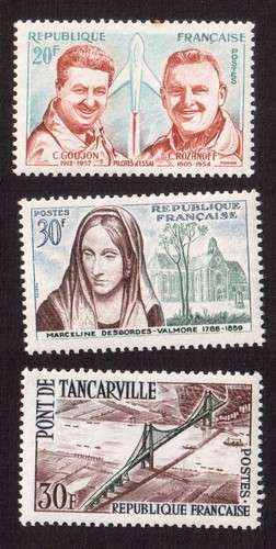 France 1959 Y&T 1213 à 1215 ** pilotes d'essai, Desbordes-Valmore, pont de Tancarville  cote 1,45€