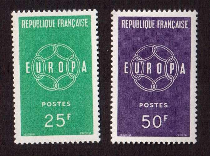 France 1959 Y&T  1218 - 1219 ** Europa 25 F et 50 F  cote 2,50€