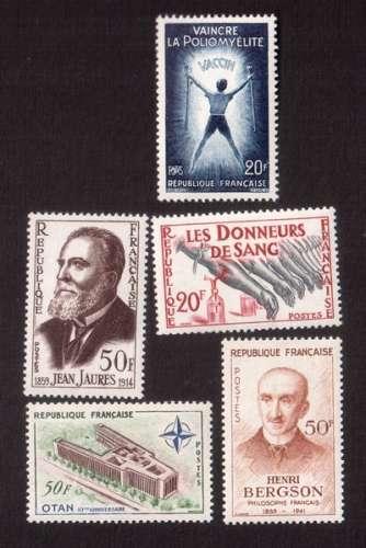 France 1959 Y&T  1217 - 1220 - 1224 - 1225 - 1228 ** Jaurès, don du sang, polyo, Bergson, OTAN