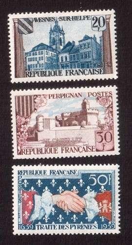 France 1959 Y&T  1221 à 1223 ** tricentenaire du traité des Pyrénées 3 timbres  cote 1,65€