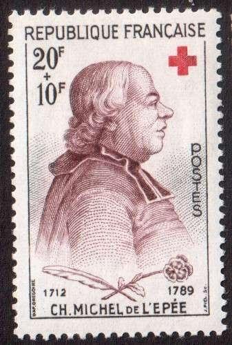 France 1959 Y&T  1226 ** croix rouge Abbé de l'Epée sans accent au 1er
