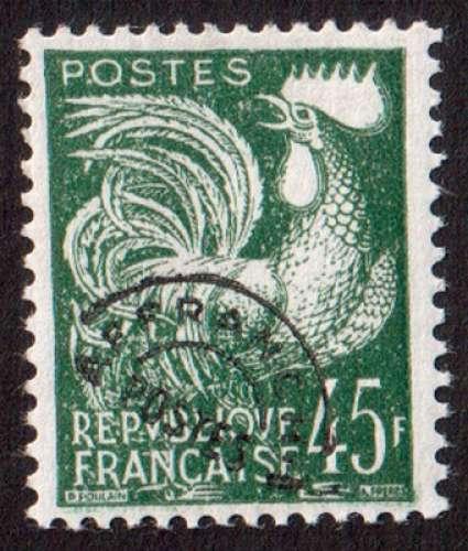 France 1953-59 timbre préoblitéré coq gaulois Y&T 117 **  45 F vert foncé     cote 25,00€